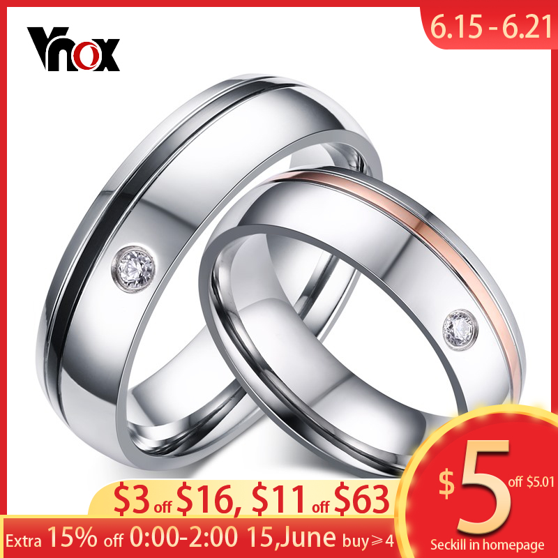 Vnox классические простые линии свадебные Кольца для Для женщин Для мужчин AAA камень CZ Пара Обещание Группа Альянс Юбилей Bijoux