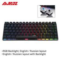 Ajazz AK33 기계식 게임용 키보드 유선 러시아어/영어 레이아웃 RGB/1 색 백라이트 82 키 충돌 방지 키보드 컴퓨터 및 사무용품 -