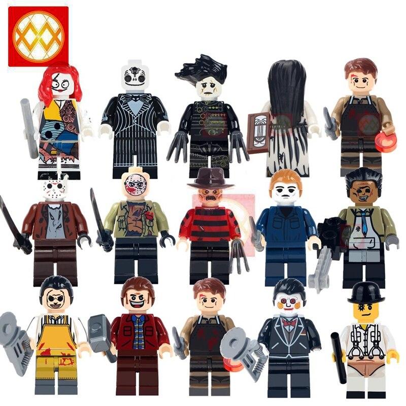 100 sztuk/partia hurtownie Horror Jason Voorhees Freddy krzyczeć Michael Myers (florida), stany zjednoczone straszne lalki Zombie Jack klocki zabawki Halloween w Klocki od Zabawki i hobby na  Grupa 1