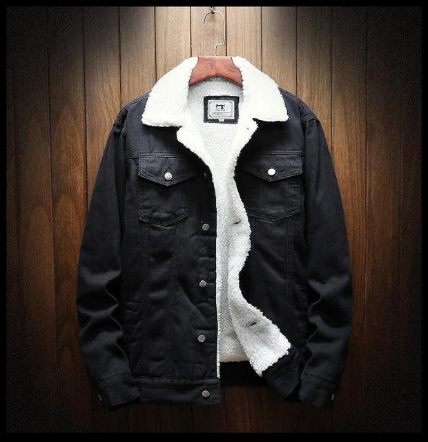 Men Light Blue Winter Jean Jackets Outerwear Warm Denim Coats New Men Large Size Wool Liner Thicker Winter Denim Jackets Size6XL 4