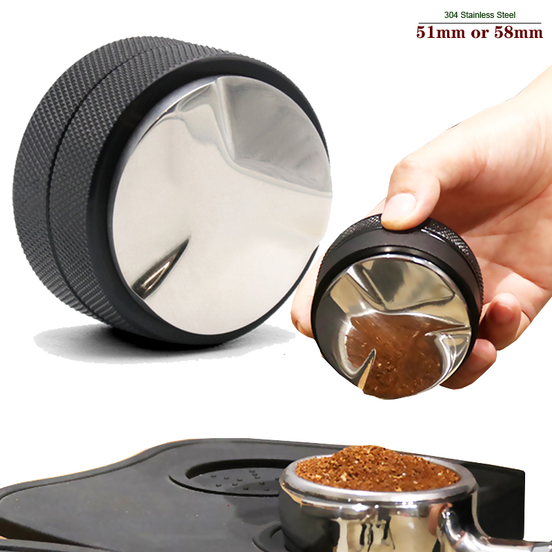 51mm /58mm 304 Stainless Steel Coffee Tamper Filter Coffee Distribution Tool  Coffee Powder Hammer Leveler Fits for Portafilter
