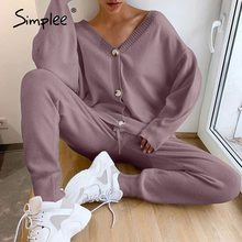 Simplee Casual knitting suit women 2-piece Loose V-neck single breasted  Sweatshirt suit Spring autumn women's knitting Suit