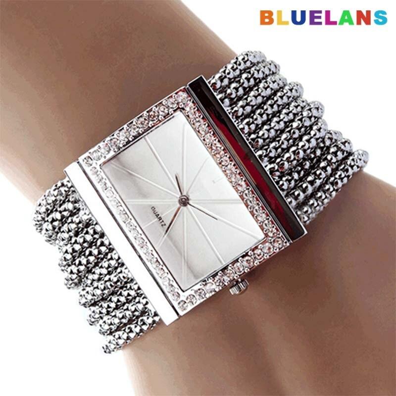 Fashion Women Watches Luxury Alloy Silver Band Quartz Wtach Women Rhinestone Bangle Bracelet Watch Dress Ladies Watchreloj Mujer