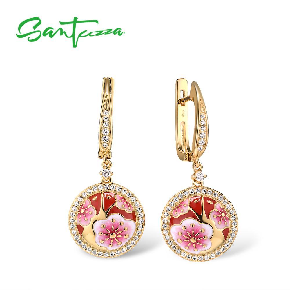 SANTUZZA Silver Drop Earrings For Women 925 Sterling Silver Gold Color Cherry Blossoms Flower Fine Jewelry Handmade Enamel