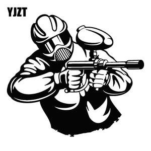 YJZT 18,1 M * 16,1 CM tiro al Paintball jugador juego pistola máscara deportes diversión creativa pegatinas calcomanías moto cuerpo vidrio c31-0138
