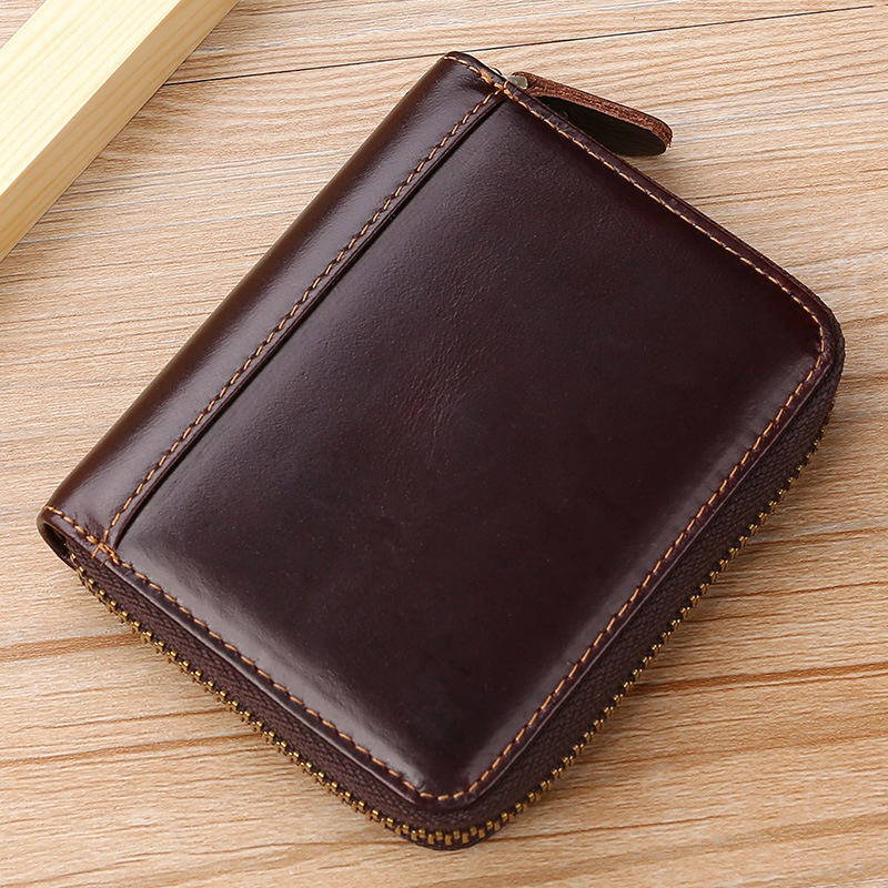 New Style Women's Genuine Leather Oil Wax Leather Bank Card Package Short Purse Clutch Bag