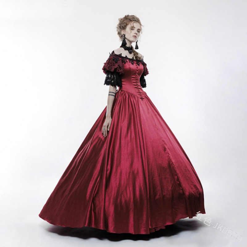 Yetişkin kadın saray mahkemesi prenses elbise ince zarif balo kare yaka dantel rönesans ortaçağ elbise cadılar bayramı kostümleri