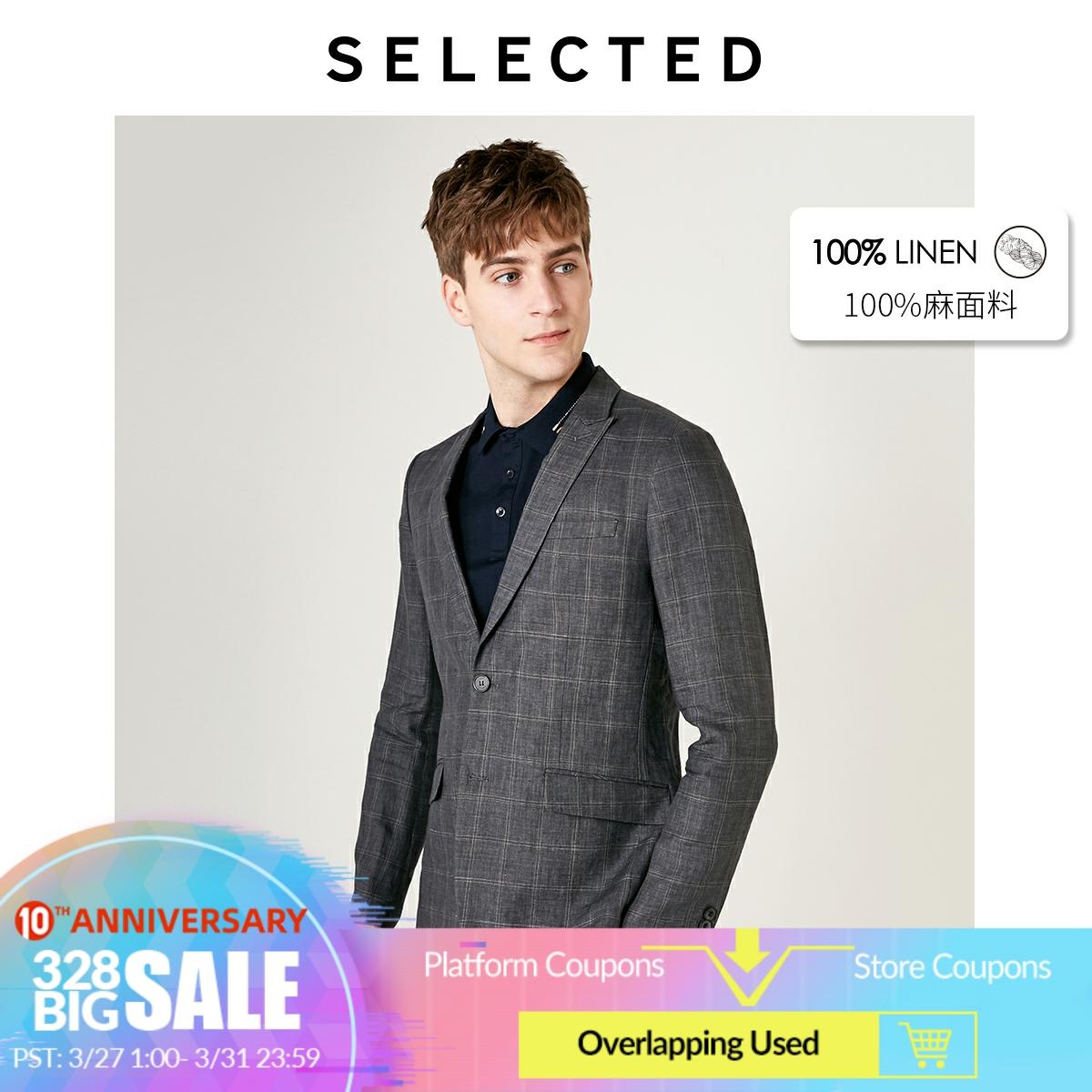 SELECTED Men's Summer Plaid Blazer Linen Business Casual Regular Slim-Fit Clothes S | 419272514