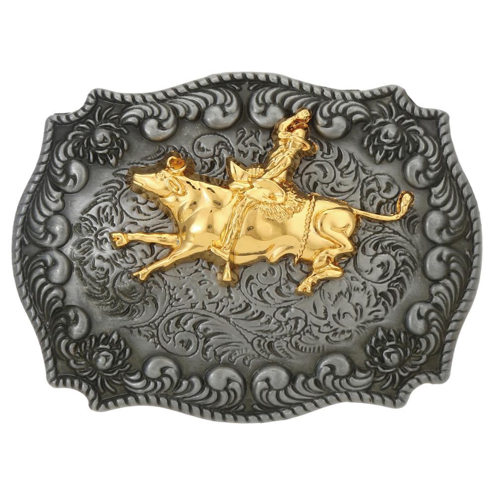 Retail Western Denim Gold Pig Pattern Belt Buckle Accessories Men's Jeans Matching Accessories