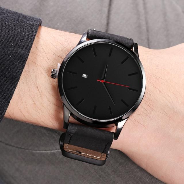 Leather Quartz Watch Men Casual Sports Fashionable Wristwatch 2