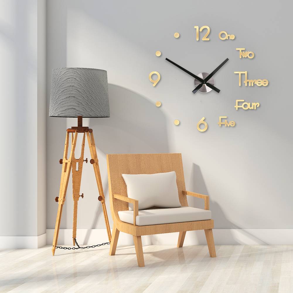DIY Digital Wall Clock 3D Sticker Modern Design Large Silent Clock Home Office Decor Wall Watch for Living Room Decoration