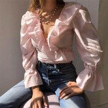 Женская шифоновая блуза с рюшами, милая шифоновая блузка с оборками, v-образный вырез, длинный рукав, Милая женская модная повседневная рубашка, стильные блузки