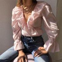 2019 frauen Chiffon Rüschen Bluse Süße Chiffon-Bluse Rüschen v-ausschnitt Langarm Nette Frau Mode Lässig Hemd Stilvolle Blusen