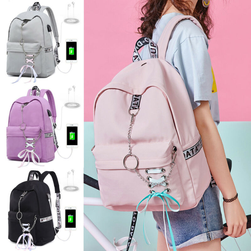 NEW Women USB Port School Backpack Girls College Large Waterproof Travel Rucksack Outdoor Travel USB Charging Backpacks