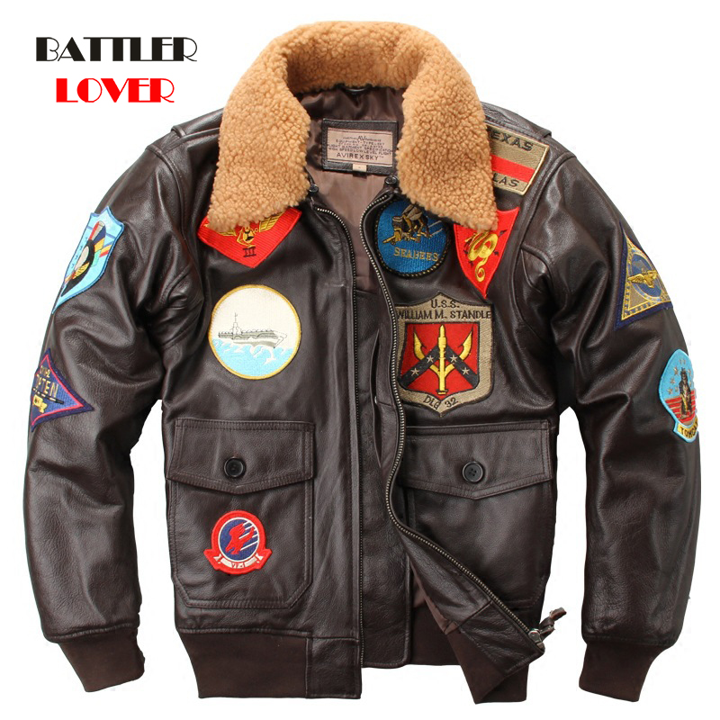 100% Genuine Cow Leather Man A2 Pilot Jacket Tom Cruise Top Gun Air Force Cow Coat Brown Thick Cowhide Winter Motorcycle Jacket