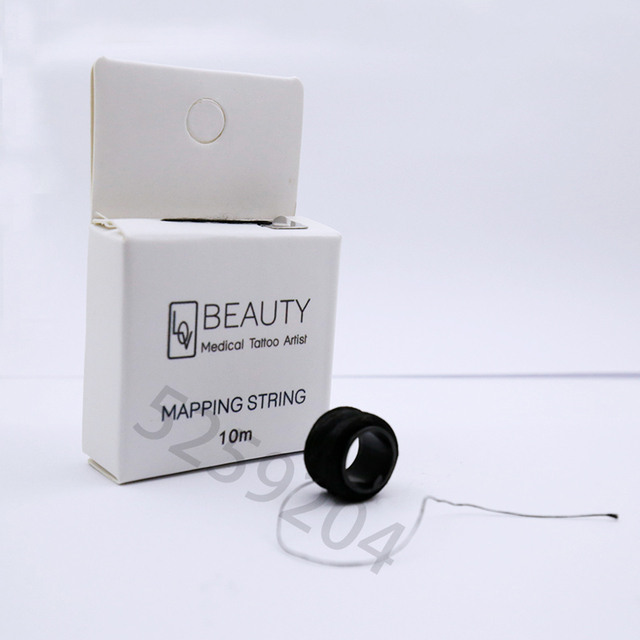 10 Meters pre-Inked Mapping String for Eyebrow Measuring Natural Bamboo Charcoal Thread Pre-inked Microblading String for Brow 3