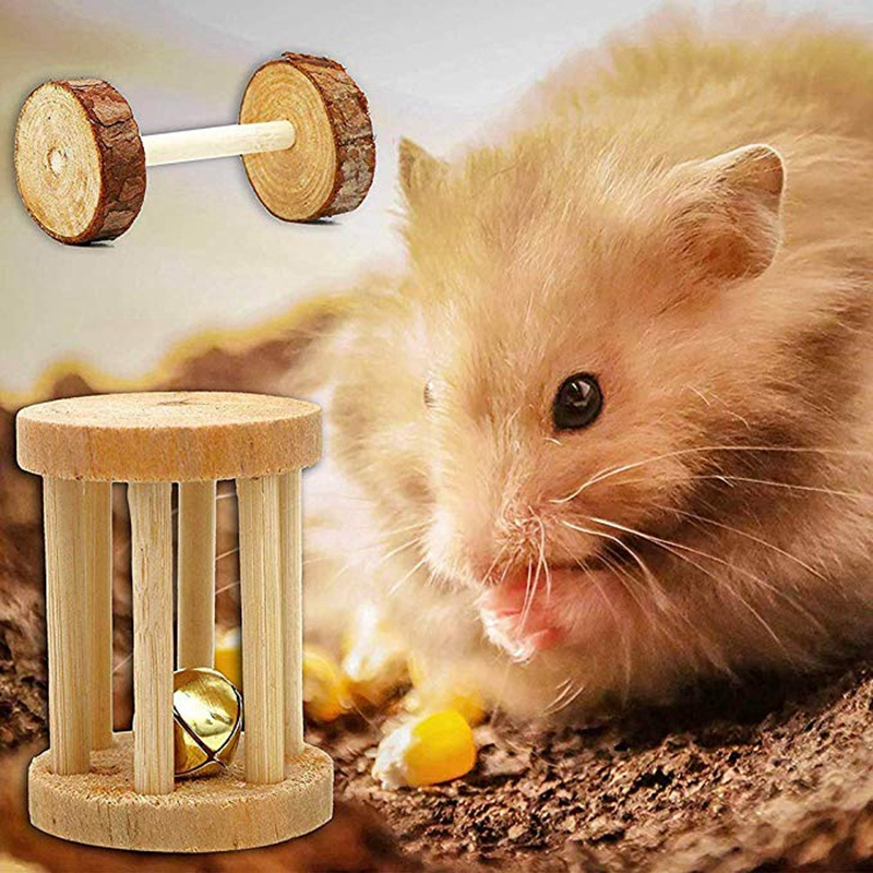 10 Pcs Set Hamster Chew Toys Natural Wooden Gerbils Rats Chinchillas Toys Accessories Dumbbells Exercise Bell Roller Teeth Care 12