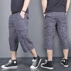 Cinto gratuito, shorts de algodão cargo para homens, casuais, soltos, baggy, praia 3/4 comprimento grande 5xl