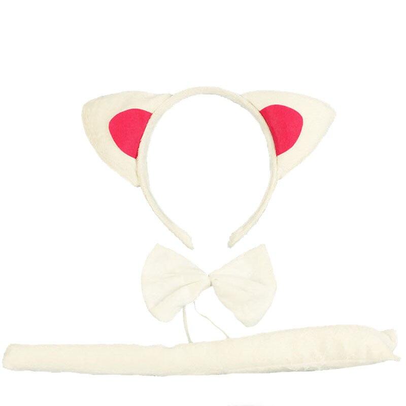 Детская повязка на голову с ушками животных для мальчиков и девочек; комплект с галстуком-бабочкой и хвостом для детей и взрослых; карнавальный костюм; вечерние аксессуары для волос - Цвет: 18