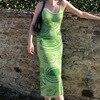 Paisley Print Knit Dress Women Green Y2K Summer Sexy Bodycon  Sleeveless Spaghetti Strap Beach Party Midi Dresses 2021 1