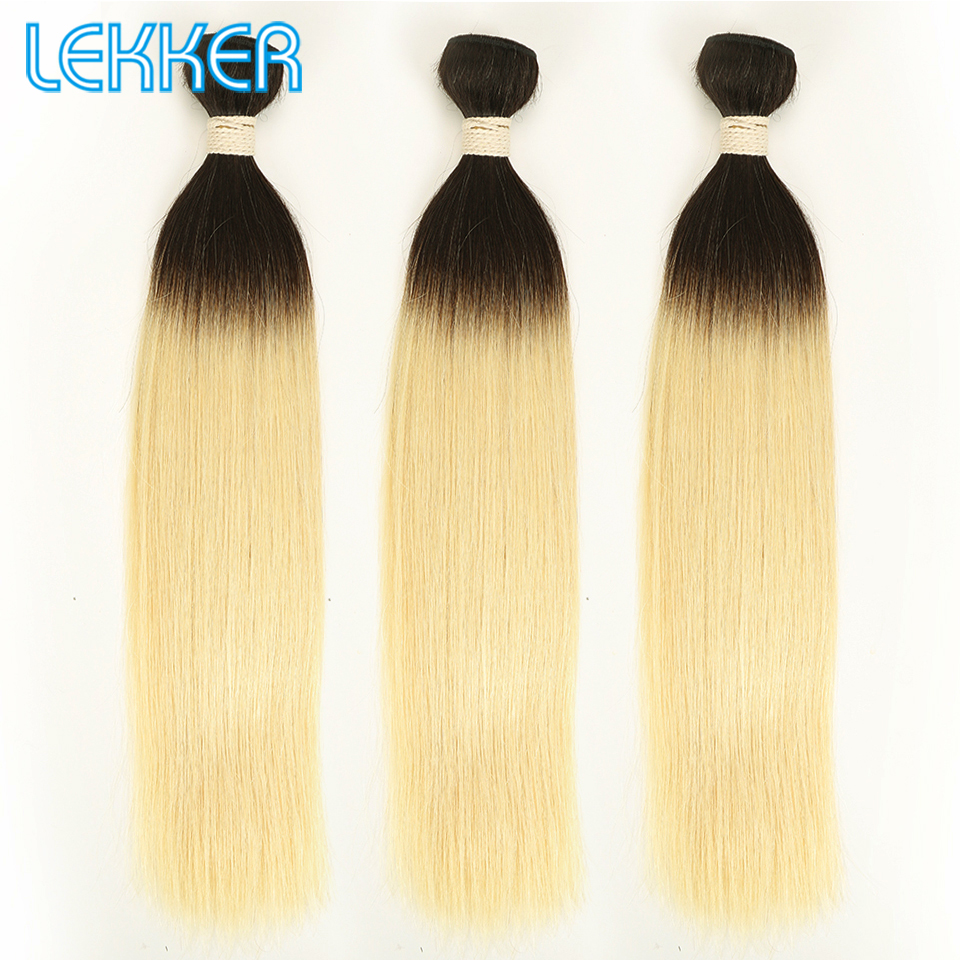 Lekker 1B/613 Blonde Hair Bundles Straight Peruvian Hair Pre-colored Remy Human Hair Weaving 1/3/4 pcs Ombre Bundles