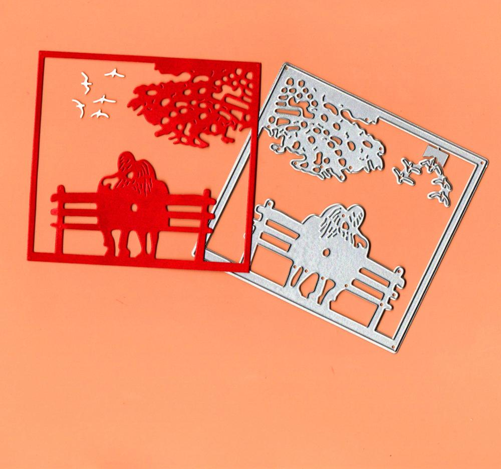 Lovers On The Bench Metal Cutting Dies Stencil Template For DIY Embossing Paper Photo Album Cards Making Dies Scrapbooking 2019