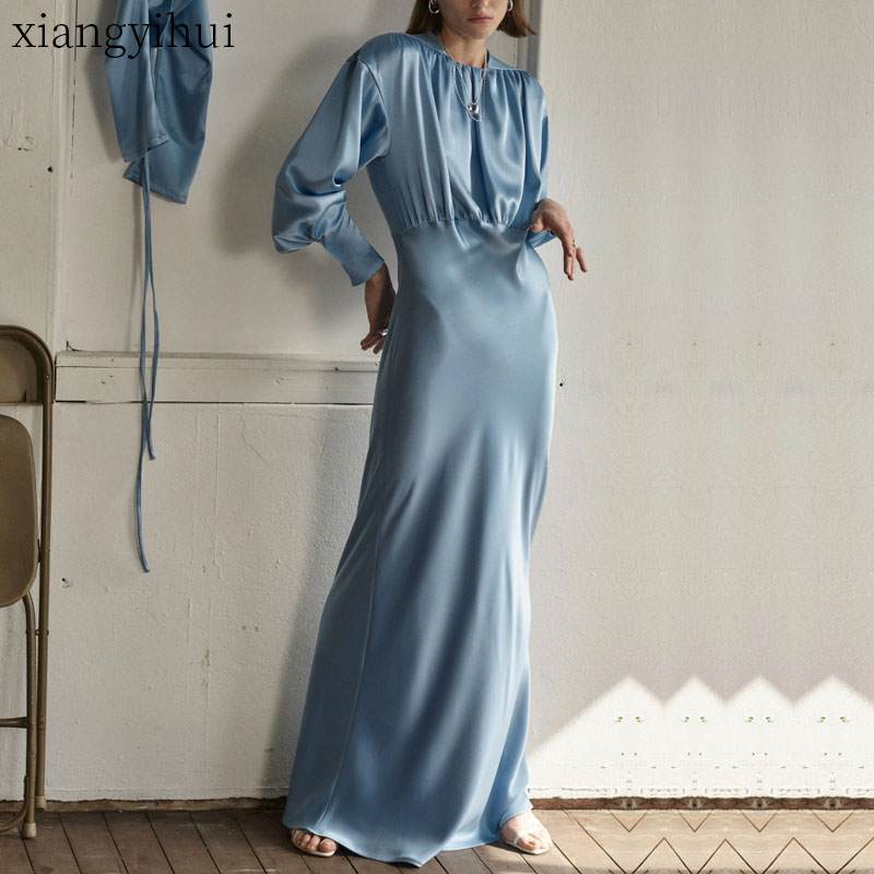 Mode rétro Vintage élégant bleu Satin soie longues robes Vestidos Maxi pour les femmes 2019 haute qualité dames lanterne manches robe