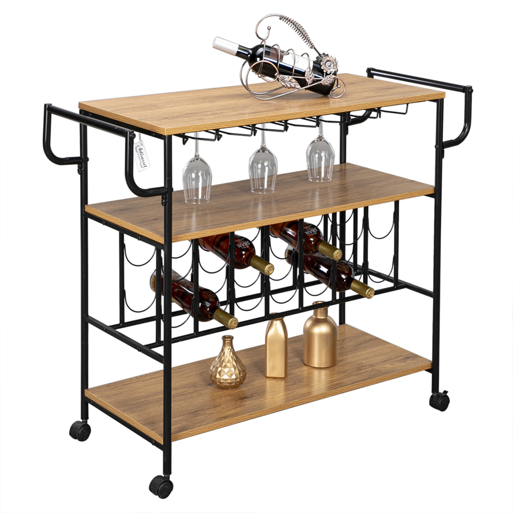 Industrial Bar Cart With Wine Rack And Glass Holder Metal Serving Cart And Kitchen Storage Cart Bar Wood Table Serving Trolley