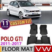 Пользовательские автомобильные кожаные коврики для Volkswagen VW Polo GTI MK5 6R 6C 2011~ 5 мест Авто коврик для ног Аксессуары для ковров