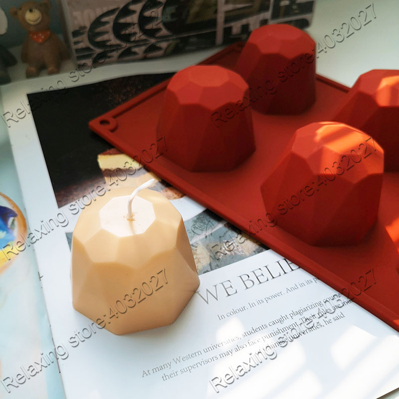 Creative Gem Candle Molds 6 Cavities Chocolate Silicone Mold 3D Gemstone Aromatherapy Candle Mould