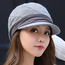 Hats Painter-Cap Beret Knitted Plain Women Ladies Octagonal Solid Wool-Hat Artificial
