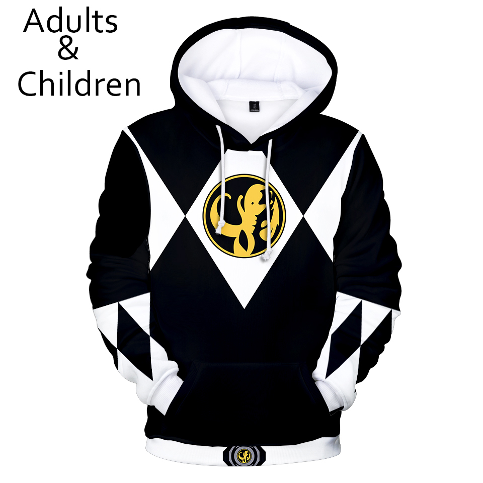 New Black+white 3D Power Rangers Hoodies Men Women Sweatshirts Children Hip Hop Hoodie Autumn Hoody Kids Power Rangers Pullovers