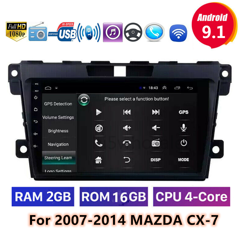 <font><b>9</b></font> inch 2 din Android <font><b>9</b></font>.1 Car Radio Video Player Navigation GPS For <font><b>Mazda</b></font> <font><b>Cx</b></font>-7 cx7 <font><b>cx</b></font> 7 2007-2014 NO DVD WIFI RAM 2G image