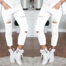 Summer Women Pants Casual Skinny Ripped Holes High Waist Stretch Slim Solid Pencil Trousers