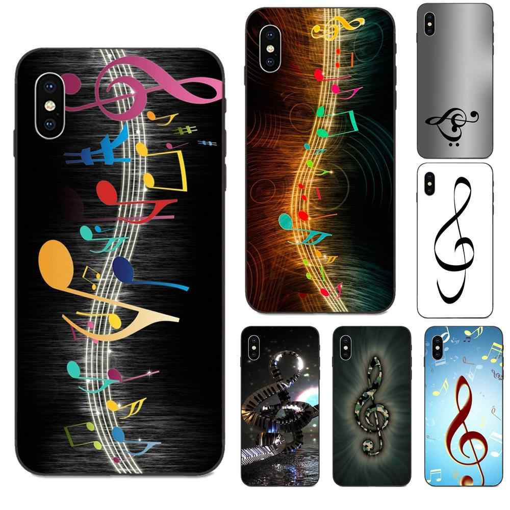 Morbido Custodie Fundas Per il iPhone di Apple 4 4S 5 5S SE 6 6S 7 8 11 Plus X XS Max XR Pro Max chiave di Violino Musica