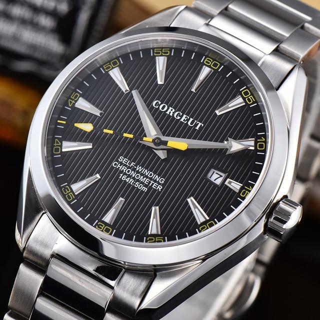 Corgeut 41mm ספורט יוקרה למעלה מותג גברים שחף אוטומטי מכאני שעונים עסקי שעון יד זכר שעון Relogio Masculino