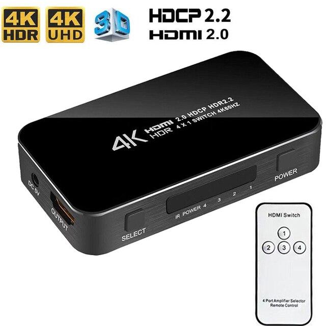 חדש 4K HDMI 2.0 Switcher מתג ספליטר 4 ב 1 מתוך 4K 60Hz HDR hdmi switcher HDCP 2.2 שלט רחוק עבור PS4 פרו DVD, xbox