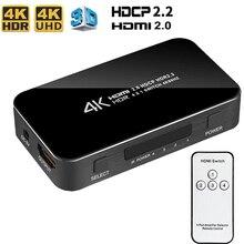 Novo 4k hdmi 2.0 switcher switch splitter 4 em 1 fora 4k 60hz hdr hdmi switcher hdcp 2.2 controle remoto para ps4 pro dvd, xbox