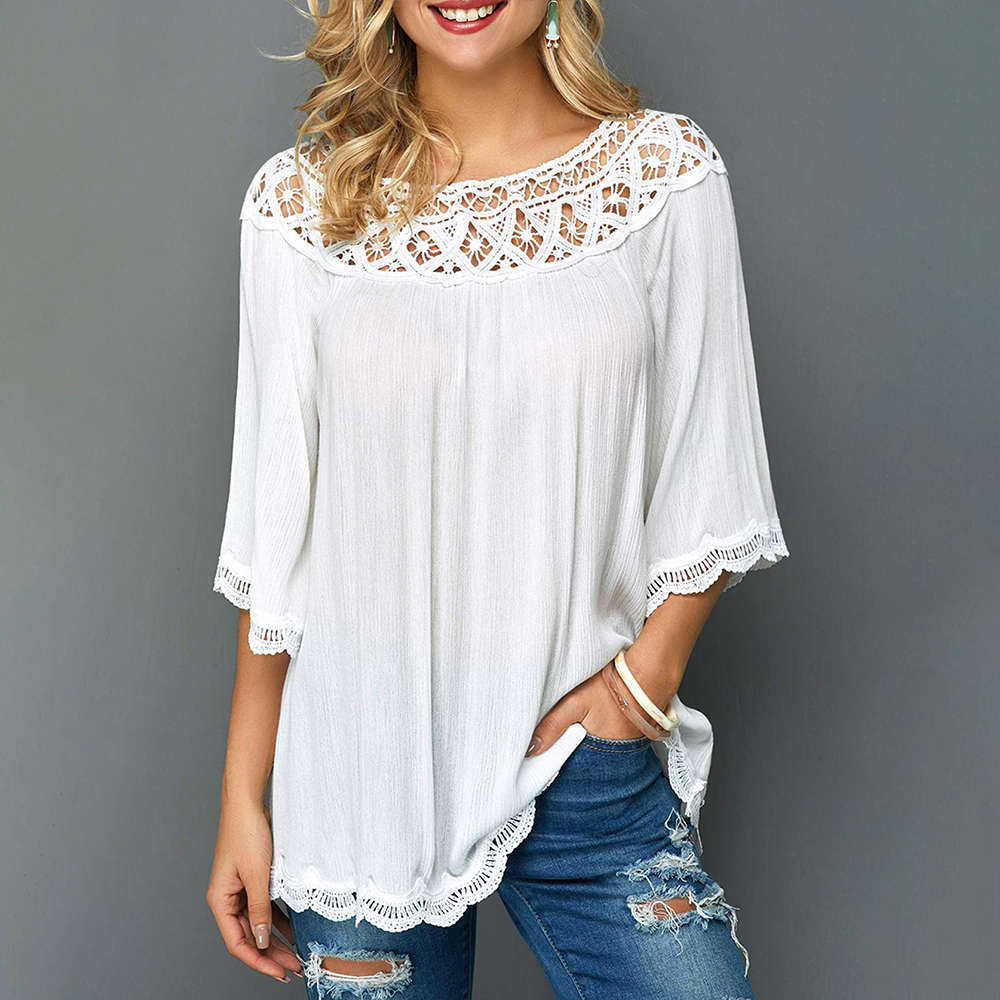 Autumn Women Plus Size Tops White Lace Tshirt Cotton Loose t shirt Women Casual O neck Tops Elegant Female Blusas Large Size D30 in T Shirts from Women 39 s Clothing