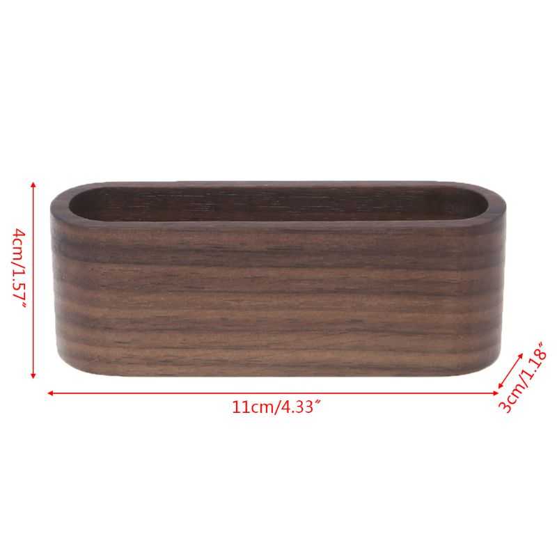 Wooden Table Business Card Display Stand Memo Holder Storage Box Organizer Walnut Beech Wood LX9A image