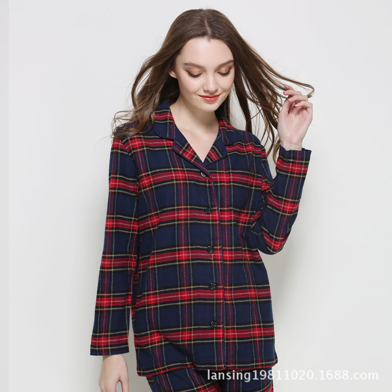 Pajamas Women's Autumn Pure Cotton Long Sleeve Spring And Autumn Pajamas Full Cotton Autumn Plaid Autumn And Winter Ladies Home