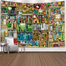 Tapestry Bookshelf Art Dorm-Decor Wall-Hanging Living-Room Simsant Vintage Home Retro