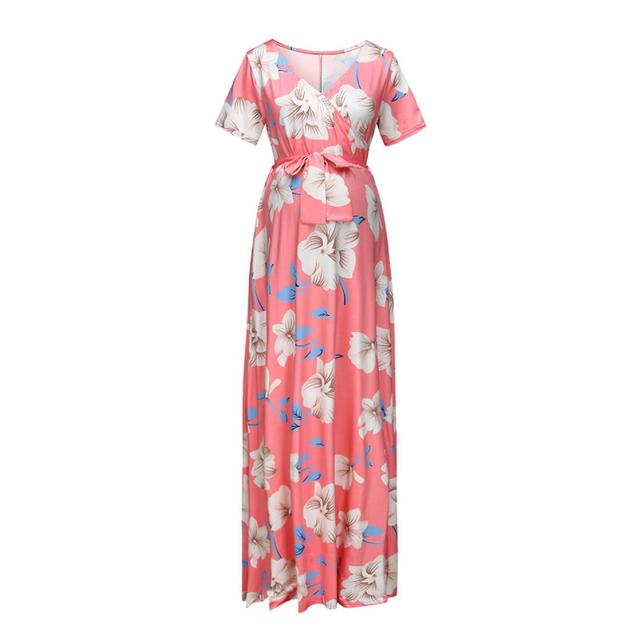 Women's Floral Short-sleeved Dress for Pregnancy 3