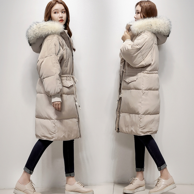Womens Duck Down Jackets Winter Parkas Luxury Natural Racoon Fur Warm Coat Long Loose Female Overcoat Chaqueta Invierno Mujer