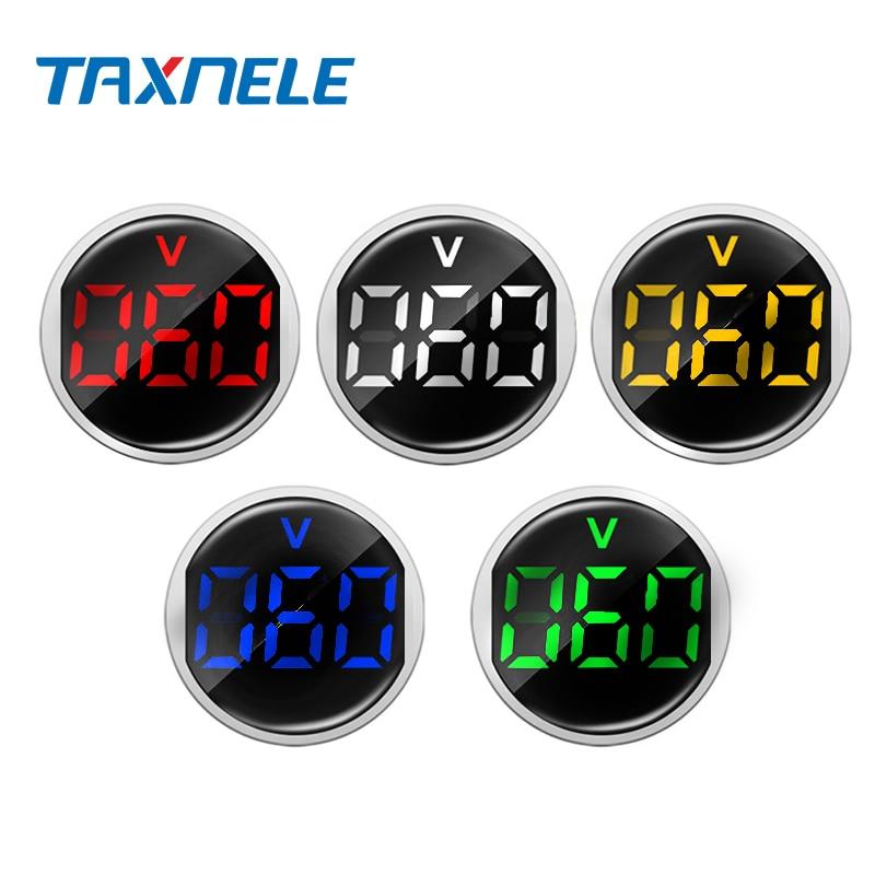 Mini New 22MM AC 20 - 500V Voltmeter Square Panel LED Digital Voltage Meter Indicator Light Tester Red Blue Yellow Green White