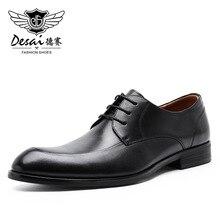 ديساي جلد أصلي للرجال أحذية 2019 رجال الأعمال أوكسفورد حذاء كاجوال جلد البقر الذكور الأحذية