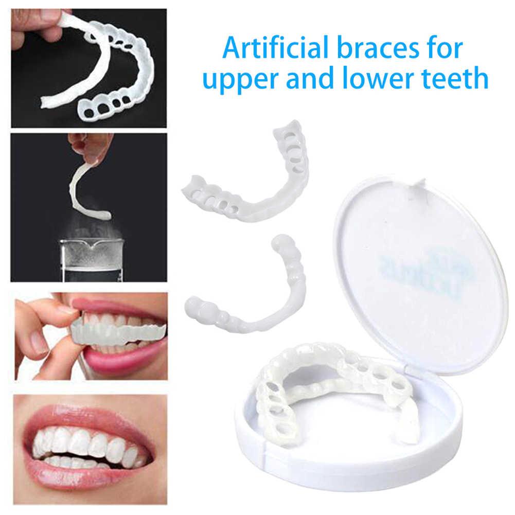 2 قطعة/المجموعة المحمولة غير سامة العلوي أدناه الأبيض وهمية الأسنان القشرة غطاء طقم الأسنان أسنان الرعاية العناية بالفم
