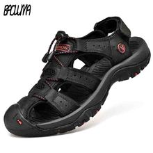Classic Mens Sandals Summer Soft Sandals Comfortable Men Shoes Genuine Leather Sandals Big Size Soft Outdoor Men Roman Sandals