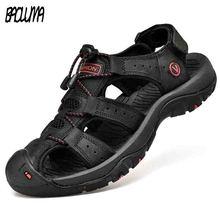 Sandalias clásicas de cuero genuino para hombre, zapatos de verano suaves, cómodos, de talla grande, para exteriores