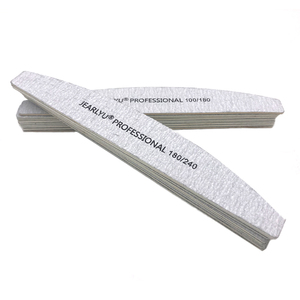Image 2 - 100Pcs/lot Professional Nail File 100/180/240 DIY Washable Wooden Grit Grey Manicure Sanding Tool Art Curved Moon Files Set Lima